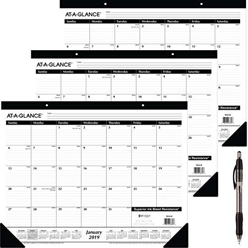 at-A-Glance Monthly Desk Pad Calendar, Ruled Blocks, January 2019 - December 2019, 22