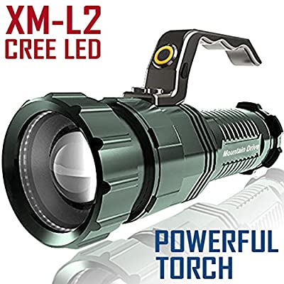SALE! Powerful Floodlight Rechargeable Spotlight Bright Led Searchlight XM-L2 CREE Powerful Led Flashlight Handheld light Rechargeable Led Spotlight Torch Light Strobe flashlight Rechargeable