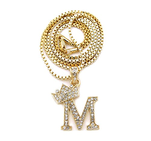 "Unisex Small Size Pave Initial Alphabet Letter Pendant 2mm 24"" Box Chain Necklace in Gold, Silver Tone (M - Gold Tone)"