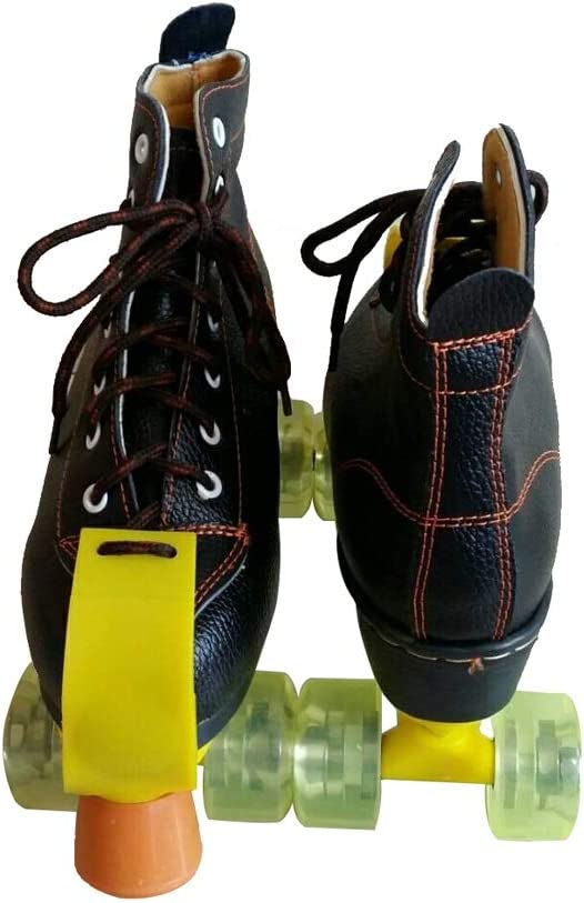 男性と女性のためのインラインスケート 複列スケート、 大人の子供の屋内と屋外のスケート靴 古典的なハイトップ四輪ローラースケート 黒 耐摩耗性と通気性 (Color : 黒, Size : 35)