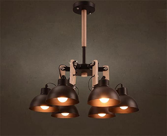 Lampada Vintage Industriale : Lampadario vintage spider lampada continental ferro lampadario legno