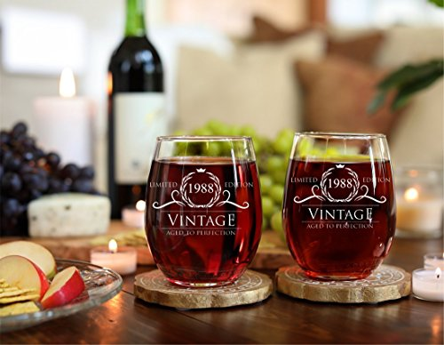 30th Wedding Anniversary Gifts For Men: 1988 30th Birthday Gifts For Women And Men Wine Glass