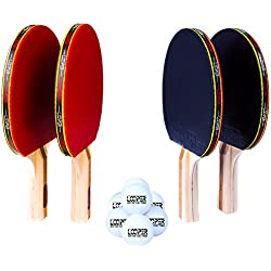 Looper Premium 4 Paddle 8 Ball Ping Pong Set & Easy-Store Case | 6 Star Table Tennis Racket | Top Tier Bat, Rubber, Sponge, and Solid Wood Grip | Best Pack for Youth to Professional ITTF Game Players