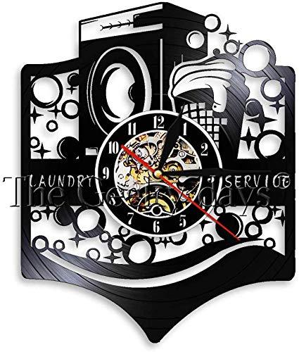 NMDD Lavandería Reloj de Pared Moderno con Registro de Vinilo ...