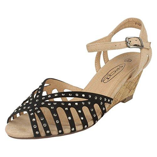 Ladies Spot On Mid Wedge Sandal / Diamante Detail Black doGbY3