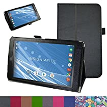 "Insignia NS-P08A7100 Case,Mama Mouth PU Leather Folio 2-folding Stand Cover with Stylus Holder for 8"" Insignia Flex NS-P08A7100 Andriod 6.0 Tablet 2016,Black"