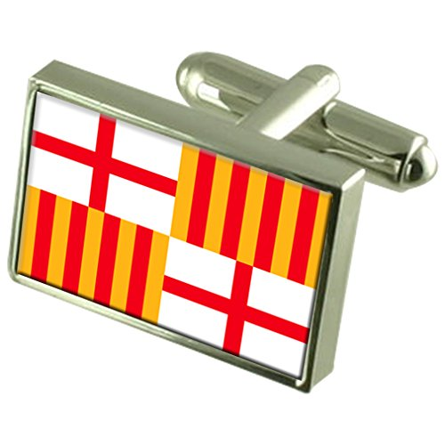 Barcelona City Spain Sterling Silver Flag Cufflinks Engraved Box
