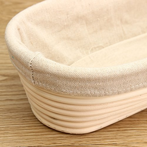 Jeteven 11 inch Banneton Bread Proofing Basket with Liner, Oval Perfect Brotform Proofing Rattan Basket for Making Beautiful Bread, Pack of 2 by Jeteven (Image #4)