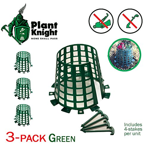 Plant and Tree Guard and Protector for Trees, Plants, saplings, Landscape Lights, lamp Posts, More; Expandable for Larger Trees and Plants; Protection from Trimmers, Weed whackers (Green 3-Pack)