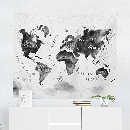 Black World Map Tapestry Wall Hanging Maps Global Watercolor Tapestries Dorm Room Bedroom Decor Art - Printed in the USA - Small to Giant Sizes