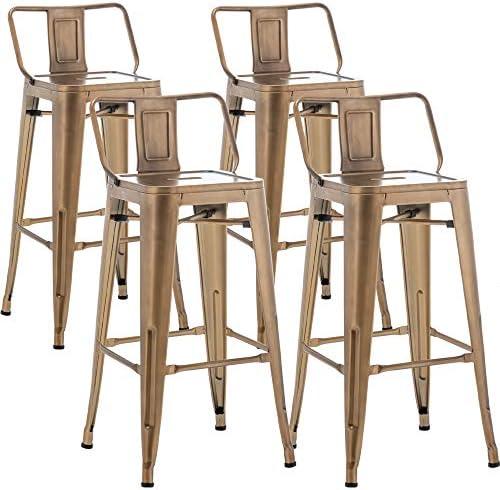 TONGLI Metal Bar Stools Set of 4 Counter Height Stools 30 Inchs Counter Stools Bronze Bar stools