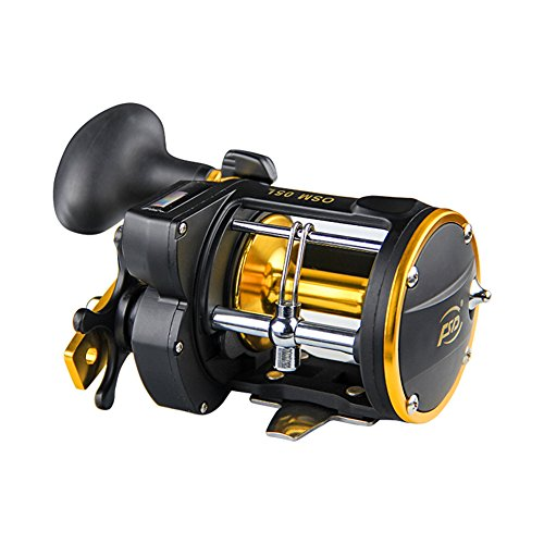 Tsptool Fishing Spinning Reel with Counter Device Alarm Bell Drum Fishing Vessel Trolling Boat Plate Baitcast Right Hand Wheel
