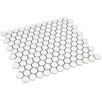 Hexagon Sechseck Keramik Mosaik Fliesen Mosaikfliesen Schwarz Gl/änzend 4 mm