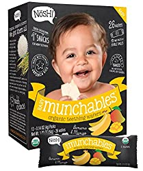Nosh Baby Munchables Organic Rice Teething Wafers, 26 Piece, Sampler Pack (Pack of 3)