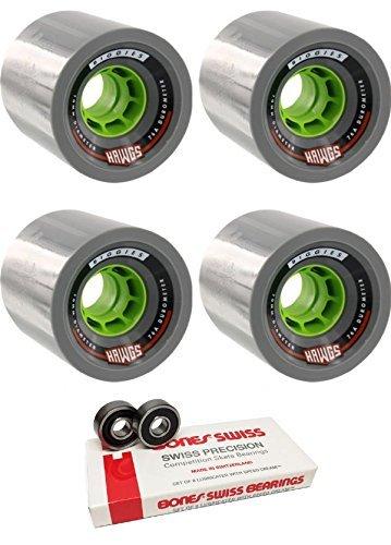 70 mm HawgsホイールBiggie Longboard Skateboard Wheels with Bones Bearings – 8 mm Bones Swiss Skateboard Bearings – 2アイテムのバンドル   B074RFQ38Q