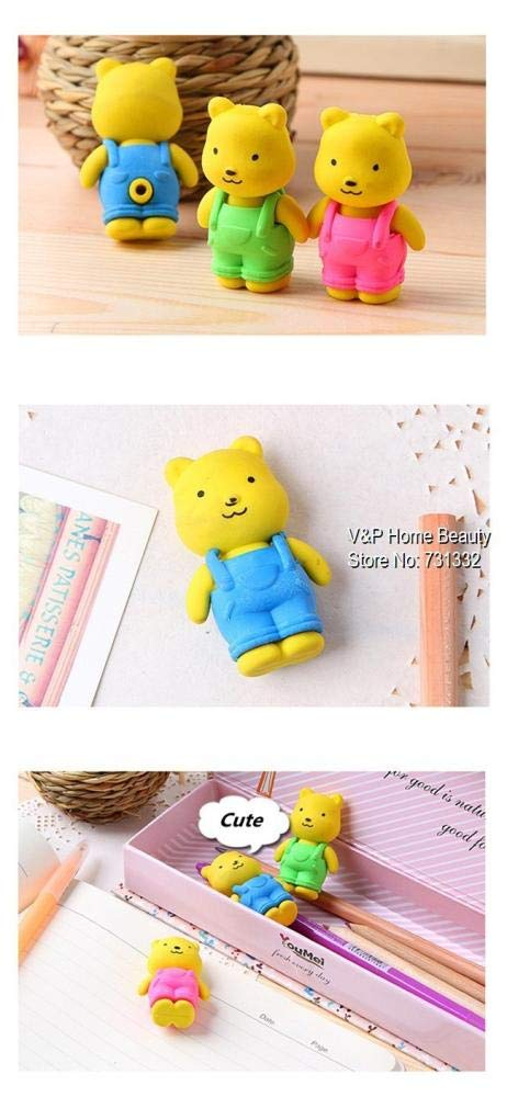30 pcs/Lot Teddy bear Erasers rubber for pencil Removable BIB PANTS Novelty Toy gift stationery Office supplies by PomPomHome (Image #5)