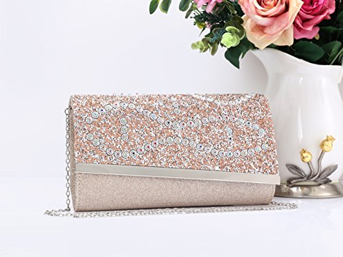 Pink Closure Pouch Glitter Magnetic Clutch Leather Wallet Handbag Women's Shoulder Bag Evening Small 67nOS