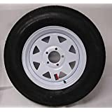 "15"" White Spoke Trailer Wheel with Bias ST205/75D15 Tire Mounted (5x4.5) bolt circle"