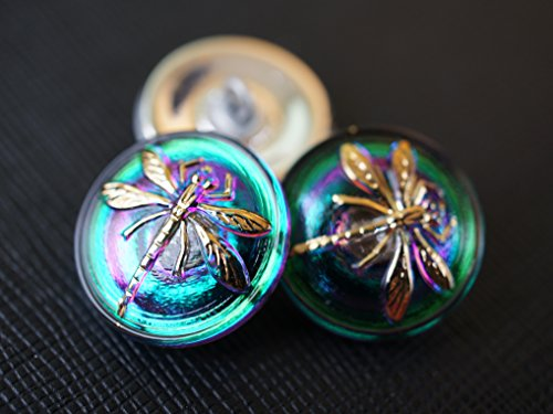 "Hand Made Art Czech Glass Button Green-Purple Vitrail – Gold Dragonfly, size 8"", 18mm, 1pc"