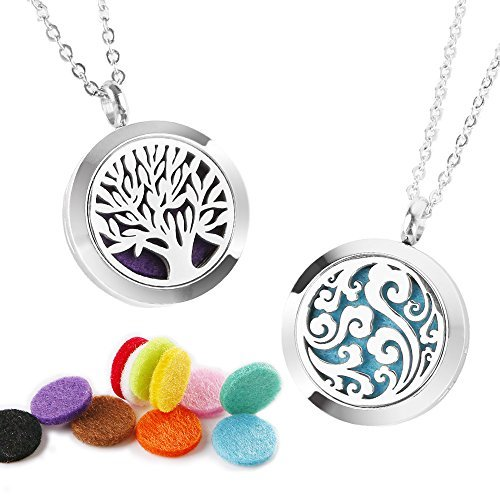 2Pcs Essential Oil Diffuser Necklace 316L Stainless Steel Locket 2 Pattern Aromatherapy Diffuser Pendant with 24 Inches Adjustable Chain (11Pcs Washable Pads)