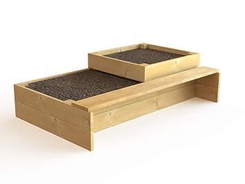 Etagenhochbeet Mit Sitzbank Aus Holz Amazon De Garten