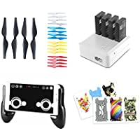 DJI / Ryze Tech Tello Accessories 4 pack combo : Gamepad Phone Holder + Joystick, Charging Hug 4 in 1 Battery Charger, 20pcs Quick-Release Propellers, 6pcs Body Skin PVC Stickers
