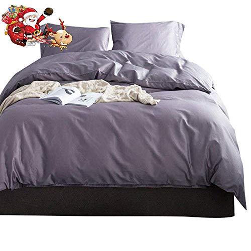 Solid Purple Grey Luxury Bedding Set Queen 3 Piece Soft Egyp