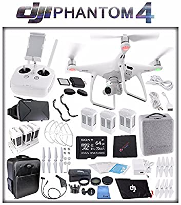 DJI Phantom 4 Quadcopter + Sony 64GB microSDXC Card + DJI Intelligent Flight Battery (3X TOTAL) + Card Reader + Cloth + Backpack + Multi Charger Hub + Adapter + 2 Pairs Propeller Blades (White) Bundle
