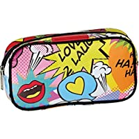 iscream Love 2 Laugh 8.5 x 4.5 Bold Print Zippered Cosmetic Bag