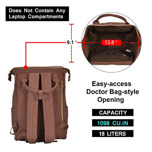 Veegul Stylish Doctor Style Multipurpose Travel Backpack Everyday Backpack for Men Women Single Pocket Brown