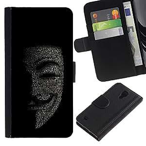 KingStore / Leather Etui en cuir / Samsung Galaxy S4 IV I9500 / Máscara Anonymous Hacker Código Tech Robot
