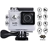 GULEEK 1080P Sports Action Camera Full HD Wide Angle Lens 2.0 inch LCD Screen Two Rechargeable Batteries Waterproof up to 30M Cam DV 5MP DVR Helmet Sports Camera with Kit of Accessories, Silver