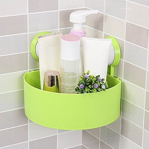 Fabal Plastic Suction Cup Bathroom Kitchen Corner Storage Rack Organizer Shower Shelf (Green)