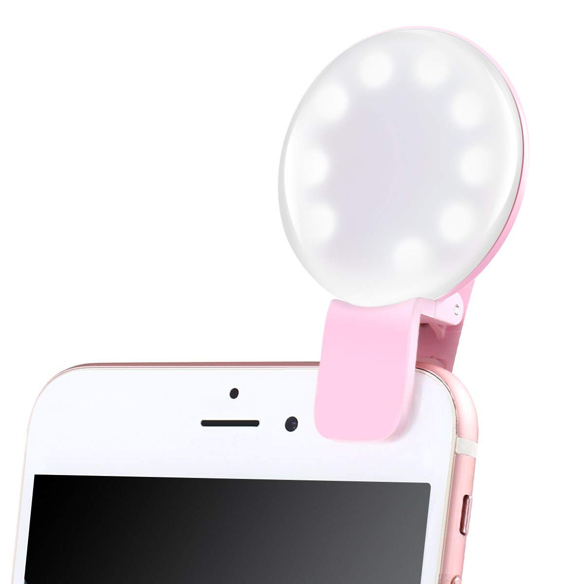 Ring Light, Selfie Ring Light,Rechargeable LED Selfie Ring Light with 3 Modes Dimmable Clip Ring Lights for Camera Phone Tablets Laptop(Rose Pink