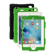 iPad Mini 4 Case, Aceguarder® [Heavy Duty] Apple iPad Mini 4 Case Full-body Protective Case Cover with Screen Protector Proof Shockproof Drops Protection Soft Silicone case with stand for Kids Outdoor Adventure Sports Gifts for Apple iPad Mini 4 Case (iPad mini 4, Black/Green)