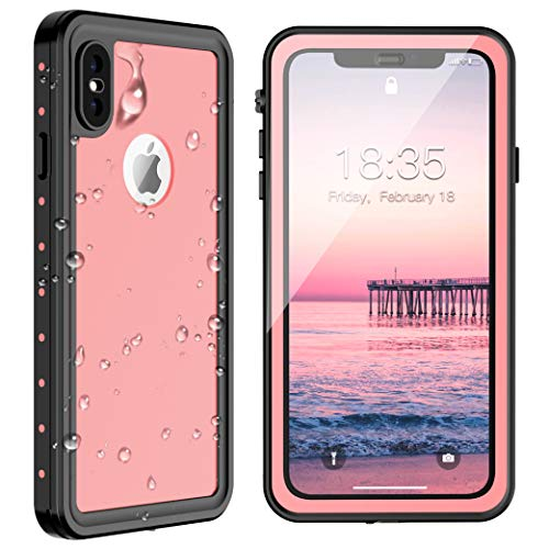 iPhone Xs Max Waterproof Case 6.5 inch 2018, SPIDERCASE Dustproof Snowproof Shockproof IP68 Certified, iPhone Xs Max Case with Built-in Protector Full Body Rugged Cover for iPhone Xs Max (Pink)