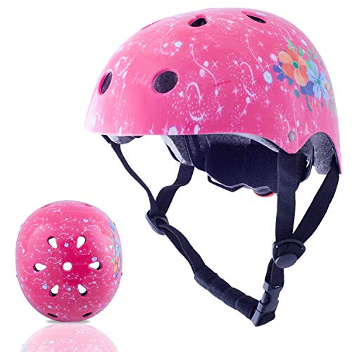 Exclusky Kids Helmets Adjustable CE CPSC Certified Sports Child Helmet for Bike Cycling/Scooter/BMX/Skating - Ages 5+ (Pink) (Scooter Helmet 5)