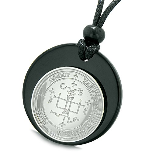 Agate Medallion - Unique Guardian Archangel Gabriel Sigil Amulet Medallion Protection Spiritual Powers Black Agate Necklace