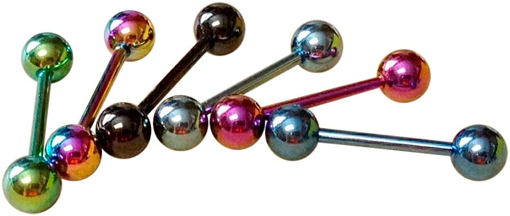 Lobal Domination 6pcs Titanium Anodized Tongue Rings Barbells Wholesale Body Jewelry 14g