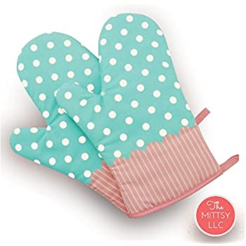 Set of Two Oven Mitts | Heat Resistant Cotton Kitchen Pot Holder [Decorative Kitchen Oven Mitt] Oven Glove | Kitchen Mitts (Dotted Blue)