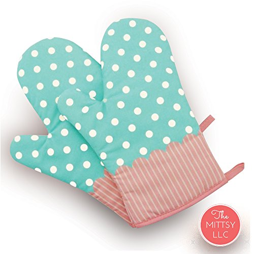 Set of Two Oven Mitts | Heat Resistant Cotton Kitchen Pot Holder [Decorative Kitchen Oven Mitt] Oven Glove | Kitchen Mitts (Dotted Blue) (Pot Vintage Holders)