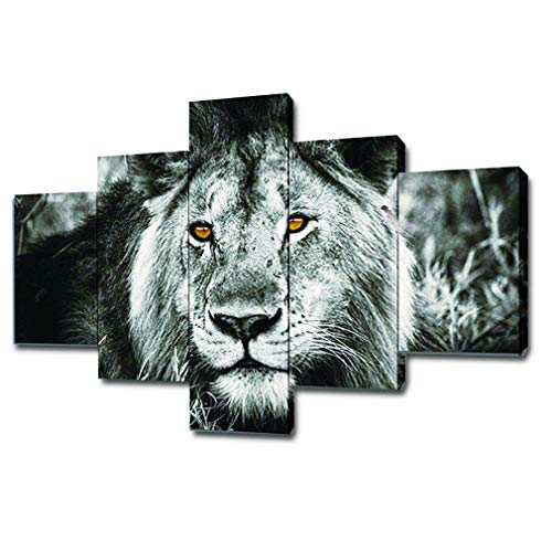 Lion Head Pictures - SwmArt 5 Piece Black And White Gray Lion Head Portrait Wall Art Painting Pictures Print On Canvas Animal The Picture For Home Modern Decoration(60