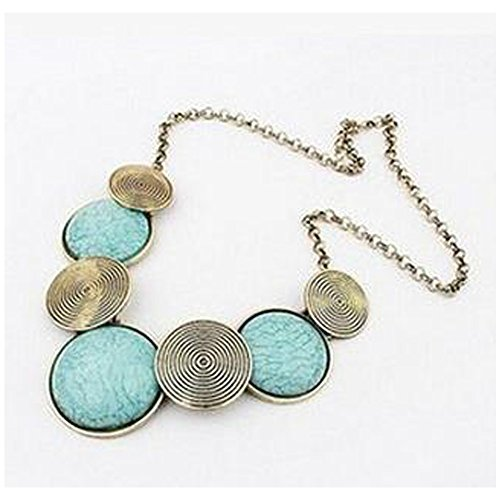 Elakaka Retro Exaggerated Metal Round Necklace(Blue) ()