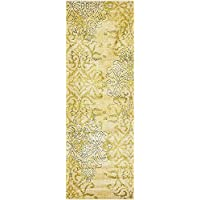 Unique Loom Damask Collection Cream 2 x 6 Runner Area Rug (2 2 x 6)