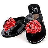 Black Metallic Wedge Sandal with Choice of 9 Satin Carnation Flowers