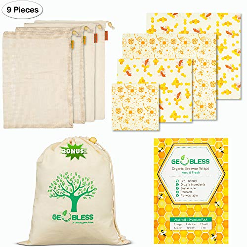 Geobless Beeswax Wraps and Reusable Produce Bags (8-Pc. Bundle) Eco-Friendly, Sustainable Food Storage | Home, Refrigerator, Kitchen | Small, Medium, Large Sizes (Upgraded)