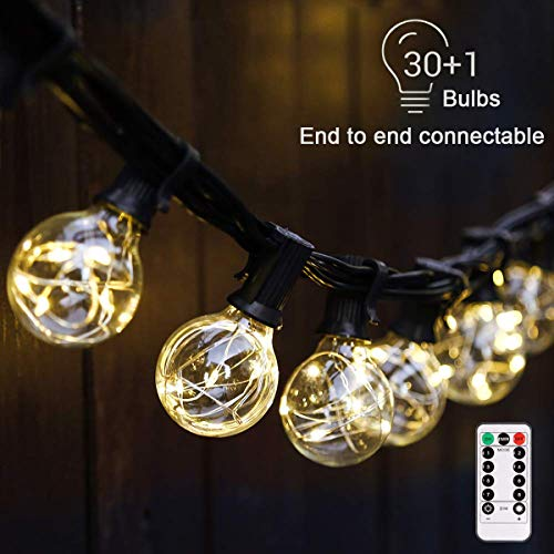 B-right G40 Dimmable Globe String Lights, 30LED Bulbs 32.8ft Indoor/Outdoor String Lights Linkable Waterproof Outdoor Patio Lights for Party Backyard Bedroom Decor (Warm White with Remote Control) (Decorative Patio Lighting)