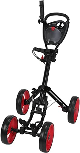 Caddymatic Golf Quad 4-Wheel Folding Golf Pull Push Cart Black Red