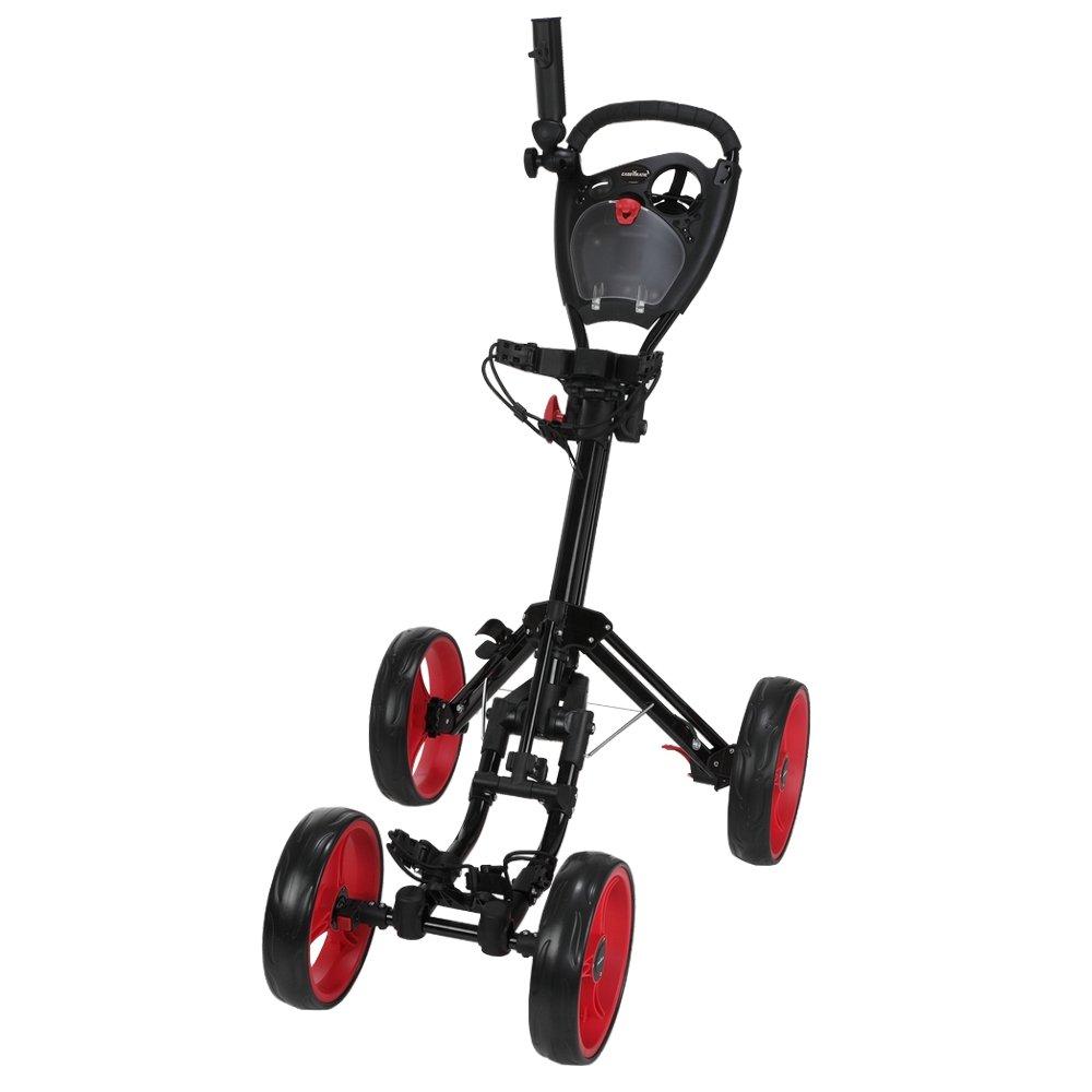 Caddymatic Golf Quad 4-Wheel Folding Golf Pull Push Cart Black Red