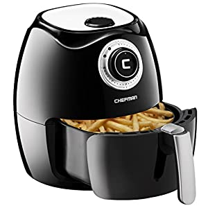Chefman Air Fryer with Adjustable Temperature Control for the Perfect Result in Frying a Variety of Foods, Cool-to-Touch Exterior and 2.6L Fryer Basket Capacity, RECIPE BOOK Included, Black - RJ38-OPP
